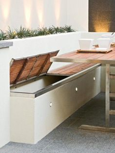 Built in storage benches with outdoor accent lighting. Patio furniture & home decor DIY design inspiration. Built in storage benches with outdoor accent lighting. Patio furniture & home decor DIY design inspiration. Seat Storage, Bench With Storage, Built In Storage, Storage Benches, Outdoor Storage, Outdoor Toys, Extra Storage, Patio Storage, Outside Storage