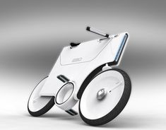 Ver2 e-bike by Yuji Fujimura. It uses a lithium-ion battery and features folding pedals and handlebars to save space in parking lots.