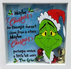 Grinch Christmas Shadow Box - Gift by A Box Is Coming - Robin Morris - Using Vinyl - Grinch Design by Krafty Nook Winter Christmas, Christmas Holidays, All Things Christmas, Christmas Vinyl, Christmas Carol, Christmas Projects, Holiday Crafts, Christmas Ideas, Glass Block Crafts