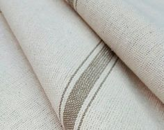 Grain Sack Fabric By The Yard - Farmhouse Fabric - Ticking Fabric - Tan 3 Stripe - Beige Fabric - Wide - Upholstery Weight Farmhouse Style Curtains, Farmhouse Fabric, Coastal Farmhouse, Farmhouse Furniture, Modern Farmhouse, Relaxed Roman Shade, Sweet Annie, Ticking Fabric, Tablecloth Fabric