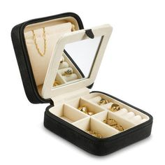 "Perfect for the weekend getaway, this compact zippered box conveniently stores rings, bracelets, earrings, and more. Features two interior compartments divided by a mirror. Removable interior pouch.5"" x 5"" x 2""."