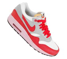 Trendy Womens Sneakers 2017/ 2018 : Nike WMNS Air Max 1 Vintage  Sail / Hyper Red  Street Grey