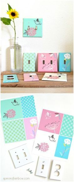 How to Decoupage Outlet Covers... Such a cute idea for kid's rooms