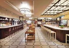 """Plaza Food Hall - food by Todd English.  HOURS: Sun – Thur 11am-10pm. Fri & Sat 11am-11pm. 1 W 58th St  New York, NY 10019  (212) 986-9260. """"Eight culinary stations provide on-premises or takeout dining affordable options to guests and visitors. Fresh flowers, imported and local specialty foods, cookware and home goods are sold here as well."""" Website: http://www.theplazafoodhall.com/"""