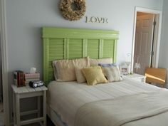 headboard made with repurposed shutters