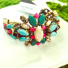 Only Today 🙈 NWT. J. Crew Multi-Color Bracelet 😍 NWT. Comes with a jewelry bag. In a perfect condition. Sold out 💛💚💙 J. Crew Jewelry Bracelets