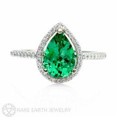 Pear Emerald Engagement Ring Diamond Halo Emerald by RareEarth