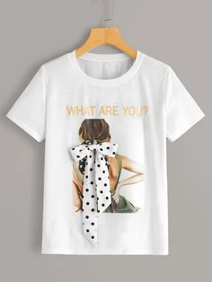 To find out about the Figure & Letter Graphic Tie Front Tee at SHEIN, part of our latest T-Shirts ready to shop online today! T Shirt Painting, Fabric Painting, Ethno Style, Goth Style, Hand Painted Dress, Diy Clothes, Clothes For Women, 3d Prints, Printed Tees