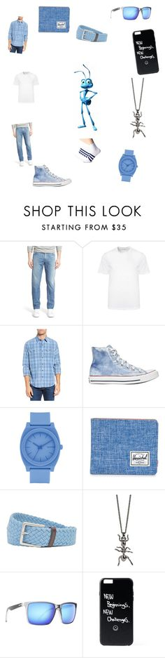 """""""Flick!"""" by chickiechic ❤ liked on Polyvore featuring Raleigh, Versace, Tailor Vintage, Converse, Nixon, Herschel Supply Co., Tommy Bahama, Simon Carter and VonZipper"""