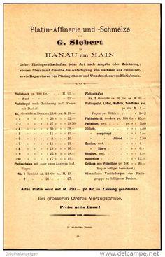Original-Werbung / Prospekt 1886 :  4-Seiter : PLATIN AFFINERIE SIEBERT / HANAU - je ca. 135 X 210 mm
