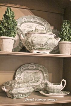 Green Transferware & Cottage In the Oaks Winner - French Country Cottage French Country Kitchens, French Country Cottage, French Country Style, French Decor, French Country Decorating, Vintage Dishes, Vintage China, Green China, Country Style Homes
