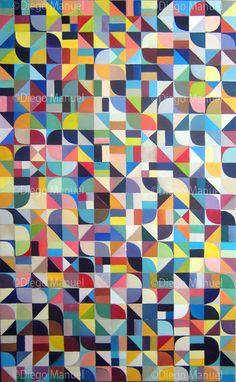 """"""" Variaciones sobre el plano de La Plata """", acrílico sobre tela, 120 x 200 cm. 2013. By Diego Manuel"""