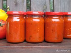 Sos pomidorowo - paprykowy Kimchi, Hot Sauce Bottles, Cake Recipes, Vegetarian Recipes, Spices, Veggies, Food And Drink, Stuffed Peppers, Homemade