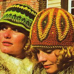 2 Crochet Patterns Feather pattern hat floppy Beanie Hat 70s hat pattern PDF Instant Download supplies epsteam brown crochet hat pattern vtg