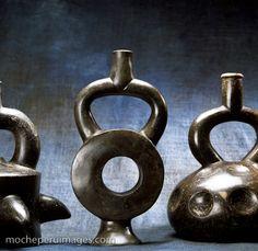 Photograph of a Moche (Mochica) ceramic pot vessel in abstract geometric design.