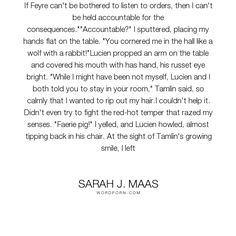 """Sarah J. Maas - """"If Feyre can't be bothered to listen to orders, then I can't be held accountable..."""". funny, faith, feyre, tamlin, a-court-of-thorns-and-roses, sarah-j-maas, lucien"""