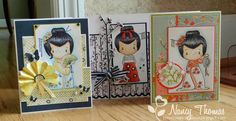"CC Designs Geisha Emma - Love the fan on the left card, cherry ""tree"" in the middle card - bjl"
