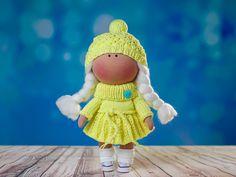 Sunny doll by OwlsUa on Etsy Sunny Doll, La Petite Collection, Cotton Fabric, Teddy Bear, Toy, Textiles, Interiors, Dolls, Disney Princess
