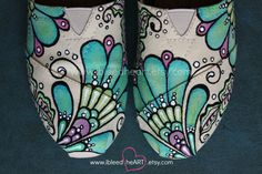 Colorful Mehndi Flower TOMS Shoes - Custom Painted - Wedding Shoes - Bohemian Flower - Personalized Shoes - Bridesmaid Gifts - Hand Painted