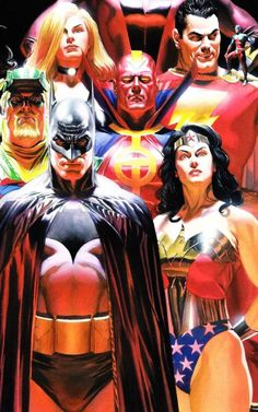 Justice League by Alex Ross, whom by the way is a bad ass. Interesting how Batman is in front. Comic Book Artists, Comic Book Characters, Comic Book Heroes, Comic Artist, Comic Character, Comic Books Art, Alex Ross, Justice League, Captain America