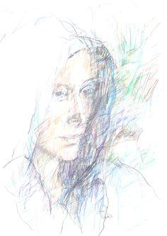 Guido Michl, Mysterious woman, Graphit / Buntstift auf Papier, 42 x 29,7 cm, 2010, 500 €
