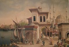 Istanbul-Oil on canvas by Haydar Islamic Architecture, Art And Architecture, Knights Templar History, Good Old Times, Iranian Art, Historical Art, Native American History, Ottoman Empire, Istanbul Turkey