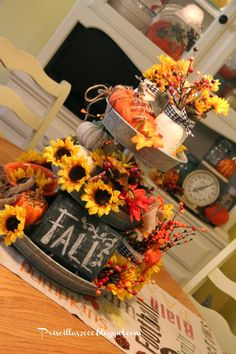Fall Galvanized Centerpiece - Decorative Tray - Ideas of Decorative Tray - I am still loving this galvanized tray I got from Sam's club ! I have dressed it up for Fall with sunflowers fall berries and leav Fall Home Decor, Autumn Home, Fall Yard Decor, Thanksgiving Decorations, Seasonal Decor, Fall Decorations, Diy Thanksgiving, Holiday Centerpieces, Galvanized Tiered Tray