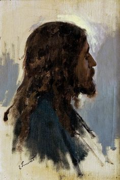 Head of Jesus - 1890 Preliminary study of Jesus image for the painting Flevit super illam.
