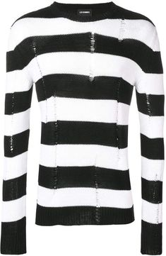 Les Hommes Knitted Striped Sweater In Black Black Men, Black And White, Black Sweaters, Size Clothing, Plus Size Fashion, Women Wear, Men Sweater, Tees, Long Sleeve