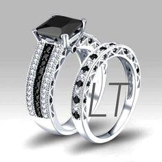 Disney's Nightmare Before Christmas Jack Skellington Inspired Princess Cut 4.5Cts Black & White Swarovski Diamond Engagement Bridal Ring Set