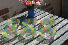 Rainbow Colours Six Small Dessert Bowls . Green Candy, Pink Candy, Small Desserts, Coloured Glass, Rainbow Colours, Dessert Bowls, Bowl Set, Unicorns, Swirls
