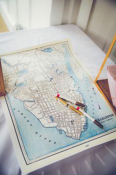 Charleston Wedding Map Guest Book #WildDunesWeddings wilddunesweddings.com