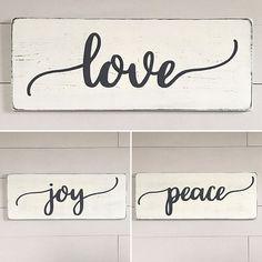 Rustic wood signs love joy peace signs rustic wall decor
