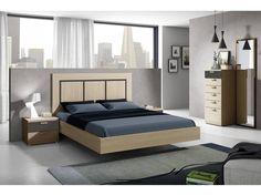 Dormitorio de matrimonio con espejo vertical Medidas (ancho x fondo x alto): Mesitas (2) con 2 cajones: 50x35x40cms. Cama (para somier de 50x190 cms.)+ cabec...