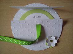 Faire-part de Naissance tout rond blanc et vert - Fait main