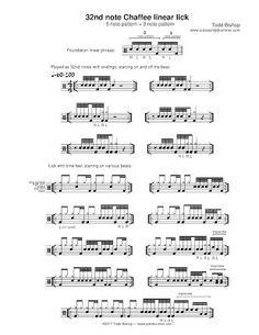 Linear Chaffee lick in notes Drum Sheet Music, Drums Sheet, Drum Notes, Learn Drums, Music Theory Guitar, Drum Patterns, Ziva David, Diy Amplifier, Drums Beats
