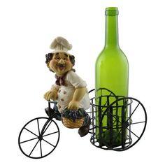 Fleur De Lis Living Luann Happy Chef on Bicycle 1 Bottle Tabletop Wine Rack
