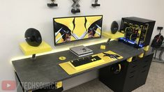 My Black and yellow Wolverine Themed Desk Setup! Video up on channel Gaming Desk Setup, Best Gaming Setup, Gamer Setup, Computer Setup, Pc Setup, Gaming Chair, Comic Book Storage, Bedroom Setup, Video Game Rooms