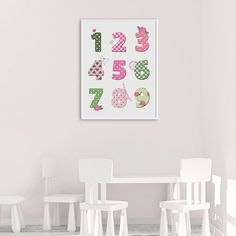 Nursery Number Art, Nursery Print for Girls, Numbers Decor, Colorful Numbers, Pink and Mint Green Decor, Printable Number Art, Girls Decor