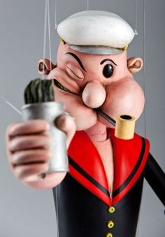 Popeye the Sailor is wooden hand carved masterpiece! Absolutely unique and very realistic puppet with great range of motion. Wooden Puppet, Wooden Toys, Custom Puppets, Popeye The Sailor Man, Hand Carved, Hand Painted, Marionette Puppet, Man Character, Wooden Hand