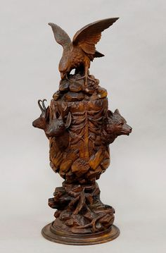 """antique black forest wood carving for sale. the wood carvings known as """"black forest wood carving"""" origin mostly from Brienz in Swizerland. Wood Carving Faces, Wood Carving Designs, Wood Carving Patterns, Wood Carving Art, Wood Patterns, Wood Carvings, Carved Wood, Hand Carved, Black Forest Wood"""