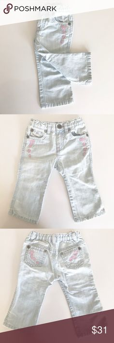 "Diesel Kid Embroidered Pluffe SP Pantaloni - F/S Diesel Kid Pluffe SP Pantaloni Embroidery Jeans, Light Wash, Embroidery on outside of pockets, Size 12 months, EUC, Smoke Free Environment.   Measurements are approx.   Waist: 15"" Inseam: 9 1/2"" Front Rise: 6 1/2"" Diesel Bottoms Jeans"