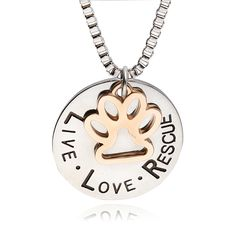 Live Love Rescue Gold Paw Print Silver Pendant Necklace for Mutts and Mittten Shelter Dogs Shelter Cats  Price: 5.06 & FREE Shipping  #pets #dog #doglovergifts