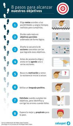 8 pasos para lograr tus objetivos #infografia #infographic Ideas Desarrollo Personal para http://www.masymejor.com