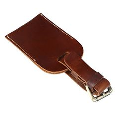 SUNVP Genuine Leather Luggage Tags Business Card Holder Travel ID Bag Suitcase Label * Find out more about the great product at the image link.Note:It is affiliate link to Amazon.
