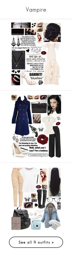 """Vampire"" by prettyflyforawifi ❤ liked on Polyvore featuring Christian Louboutin, Lime Crime, Balmain, 1928, Bynd Artisan, HUGO, Love Quotes Scarves, Roberto Marroni, panicatthedisco and Roland Mouret"