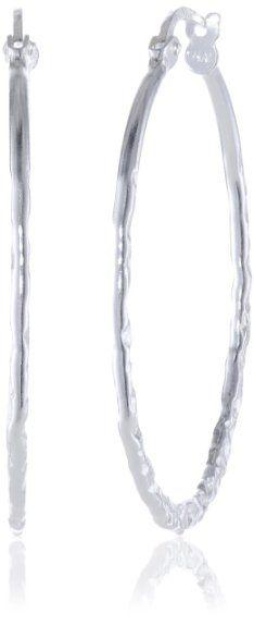 "Amazon.com: Sterling Silver Hammered Hoop Earrings (1.2"" Diameter): Jewelry Just like my favorite ones I lost"