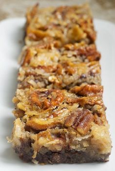 German Chocolate Pecan Pie Bars. YUM! #recipe #dessert