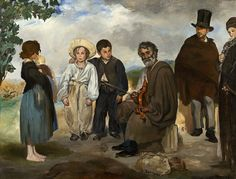 """The Old Musician 1862 - """"Manet has painted characters from the neighborhood of Petite Pologne, which he called """"a picturesque slum."""" Most are real individuals. The seated musician is Jean Lagrène, leader of a local gypsy band who earned his living as an organ grinder and artist's model. The man in the top hat is Colardet, a rag-picker and ironmonger. At the right a man named Guéroult is cast as the """"wandering Jew,"""" the prototypical outsider."""" National Gallery of Art"""