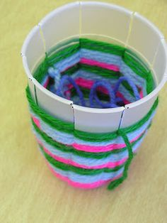 Cup weaving - use paper cups, for older kids, do a simpler weaving for the younger kids